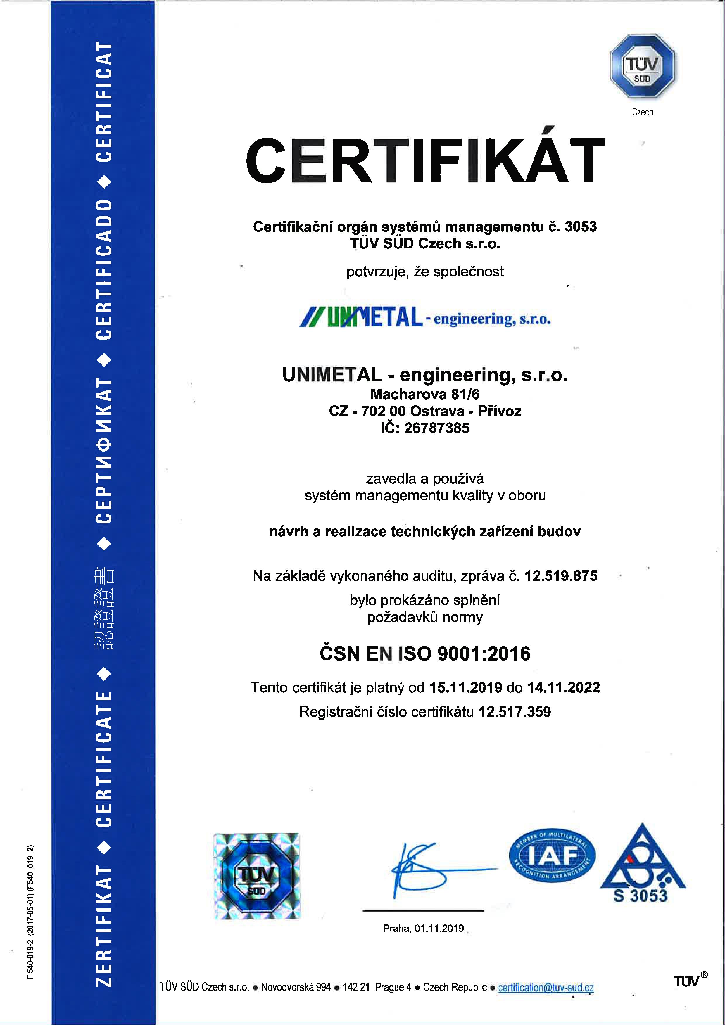 Certifikace dle ČSN EN ISO 9001:2016