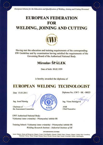 Certifikat European welding technologist